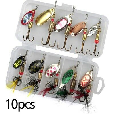 10Pcs Metal Fishing Lures Hook Spoons Spinner + Box Bait Bass Fish Tackle Tool • 6.99£