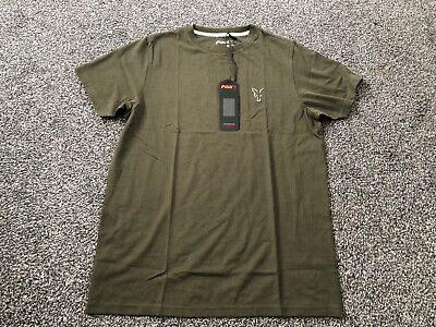 FOX NEW Collection Green & Silver Carp Fishing Cotton T-Shirt *SMALL* • 10.10£