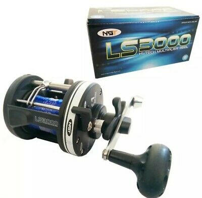 NGT LS3000 Boat Sea Fishing Multiplier Reel Loaded With 25lb Blue Sea Line • 21.95£