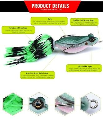 Frog Lure Surface Weedless Soft Bite Fishing Lure 8g 7cm Pike Perch • 3.99£