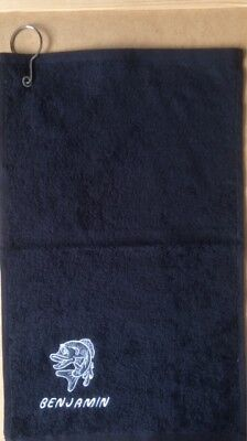 BLACK Personalised Fishing Towel, With Hanging Clip £5.99 Inc P&P   • 5.99£