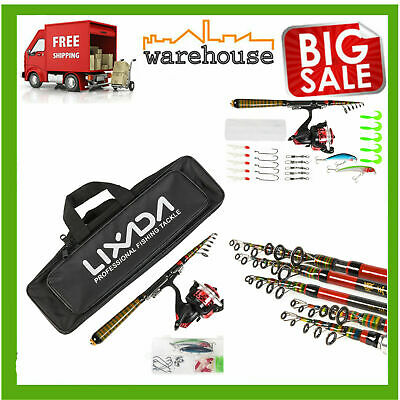 Telescopic Fishing Rods & Reels Set W/Lures &Portable Tackle Bag Travel UK P1L6 • 13.99£