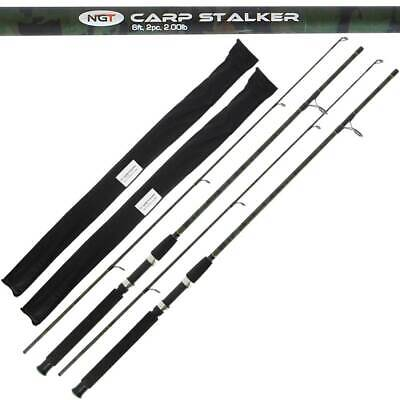 2 X CARP STALKER CAMO 6FT 2PC 1.8M Carp Fishing Short Stalker Rod Tackle NGT • 28.95£