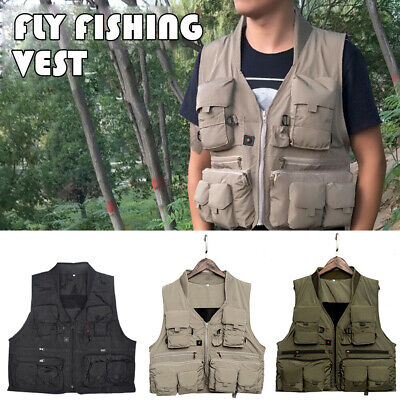 Multifunction Quick Dry Fishing Vest Outdoor Sport Camping Multi Pocket Adult • 11.33£