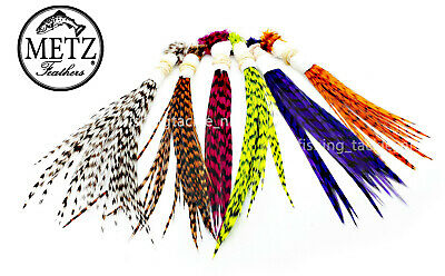 METZ Neck Hackle Wets & Palmers Grizzle Barred Av Size 16 - 10 Fly Tying Feather • 4.49£