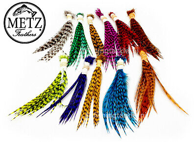 METZ Neck Hackle Wets & Palmers Grizzle Barred Av Size 12 - 6 Fly Tying Feathers • 4.49£
