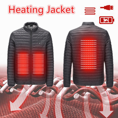 Men Electric Thermal Winter Down Jacket USB Heating Heated Cotton Coat UK • 26.99£