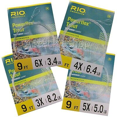 Rio Powerflex Knotless Tapered Trout Fly Fishing Leader/Cast - Choose Strength • 5.49£