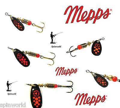 Mepps Black Fury Orange / Red Dots VARIETY SIZES SPINNERS  • 4.89£