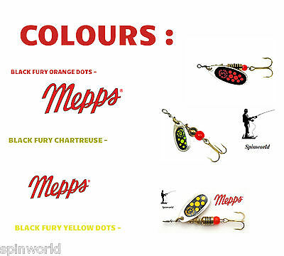 MEPPS Black Fury Silver -VARIETY SIZES & COLOURS Spinners • 4.10£