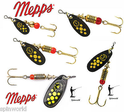 Mepps Black Fury Yellow Dots VARIETY SIZES SPINNERS  • 5.30£