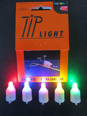 Mk4 Tip Lights X 2 Blue Green Red Pink Yellow White  Sea Fishing Cod/bass/carp • 7.95£