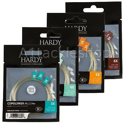 Hardy 9ft Copolymer Precision Tapered Trout Fly Fishing Leaders - 3 Pack • 9.25£