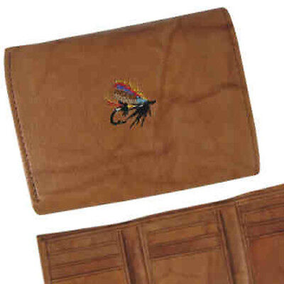Salmon Fly Nubuc Leather Wallet - Fishing Angling Gift Present Novelty • 21.50£