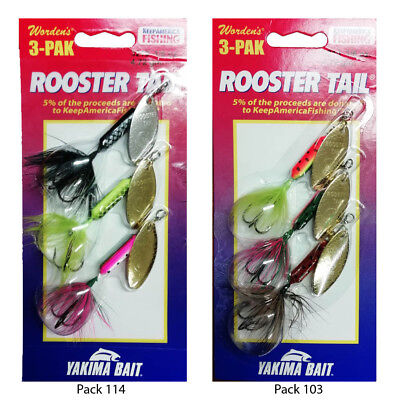 Wordens Rooster Tail Fishing Spinners, Assorted 3 Pack  3 Sizes 3.5g -5g & 7gm   • 12.99£