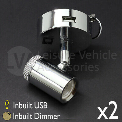 2x 12v LED Spotlight Wall Ceiling Light W/ Dimmer And USB - Switched - Motorhome • 43.99£