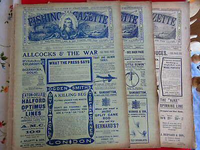 3x Vintage Ww1 Fishing Gazette Newspapers Lots Of Early Fishing Adverts • 34.99£