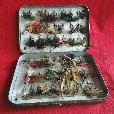 Vintage Early Wheatley Pocket 51 Clip Fly Box & Flies • 24.99£