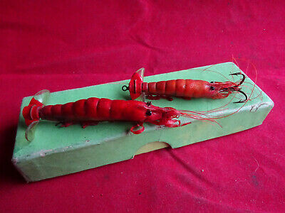 2 Vintage Prawn Salmon Lures In Unnamed Green Card Lure Box • 14.99£