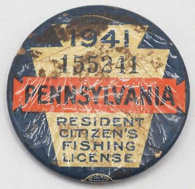 1941 PA Pennsylvania Fishing License Resident Button Vintage W/ Papers • 31.02£