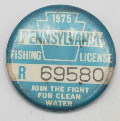 1975 PA Pennsylvania Fishing License Resident Blue Button Vintage • 31.02£