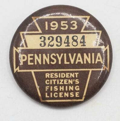1953 PA Pennsylvania Fishing License Resident Button Vintage • 31.54£