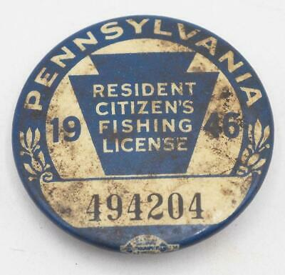 1946 PA Pennsylvania Fishing License Resident Button Vintage • 31.02£