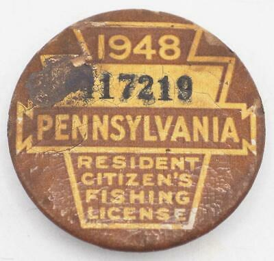 1948 PA Pennsylvania Fishing License Resident Button Vintage • 31.02£
