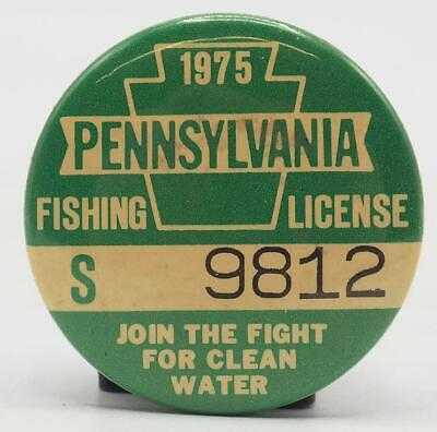 1975 PA Pennsylvania Fishing License Resident Green Button Vintage • 31.25£