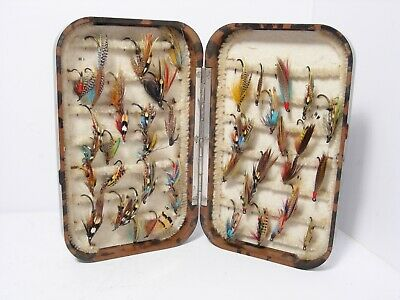 Vintage Antique Hardy Neroda Mottled Brown Fly Box  - Retaining Well • 160£