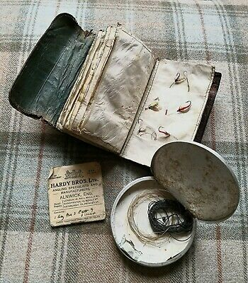 Vintage Mock Croc Leather Fly Fishing Fly Pouch, Fly Cast Tin & Hardy Bros Hooks • 58£