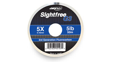 Airflo 50m Sightfree G3 Fluorocarbon Fly Fishing Tippet Leader Material • 9.99£