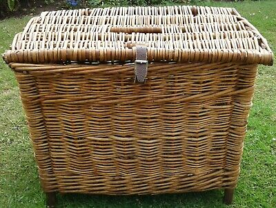 Vintage Wicker Cane Fishing Creel Storage Basket Seat Coffee Table • 25£
