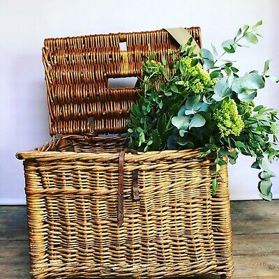 Vintage Wicker Fishing Creel Basket Seat - • 50£