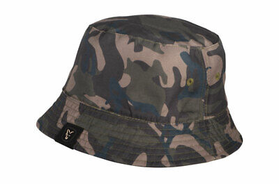 Fox Carp Fishing Head Wear Range - Camo & Khaki Reversible Bucket Hat • 16.99£