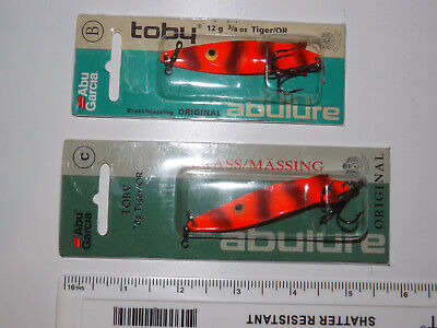 A Nice Pair Of Abu Garcia Made Toby Tiger Fishing Lures In Packets, Orange Tiger • 8.99£