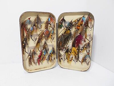 Vintage Antique Malloch Japanned Fly Box Stuffed With Salmon Flies • 70£