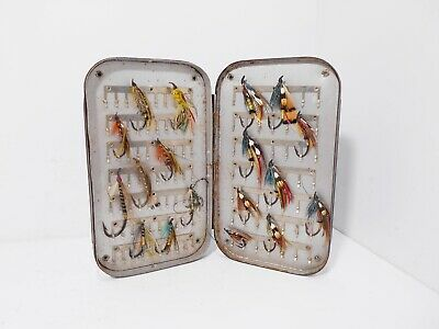 Vintage Antique Japanned Fly Box & Salmon Flies • 50£