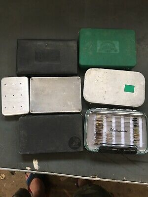 Job Lot Of 7 Fly Boxes Inc Hardy & Perrine #60 Plus Over 250 Salmon/trout Flies • 65£