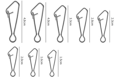 Hooked Snap Links, For Booms Swivels Zip Sliders Fishing Tackle Rigs Sizes 1 - 8 • 2.49£