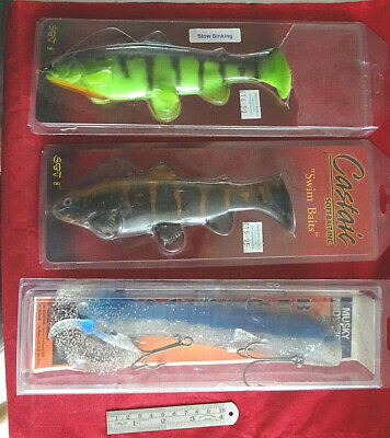 3 Unused Very Large Rubber Big Game/pike Lures Inc, Musky Innovations Bull Dawg • 34.99£