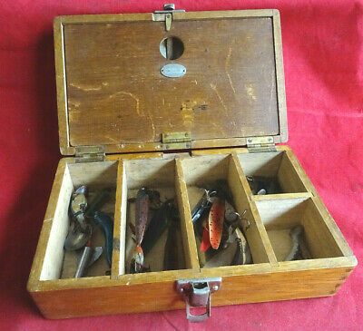A Very Nice Vintage Scarce Hardy Oak Spintac Lure Box And Lures • 169.99£