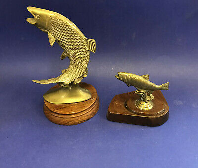 Two Vintage Brass Models Leaping Salmon • 9.10£