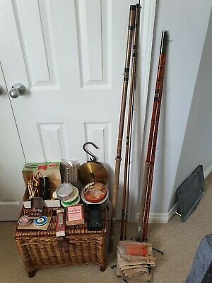 Vintage Fishing Tackle In Wicker Basket 2 Rods Floats Scales  • 40£