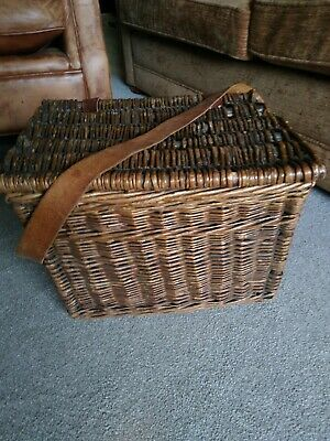 Very Old, Fisher Man's, Wicker Basket With Leather Shoulder Strap • 22£