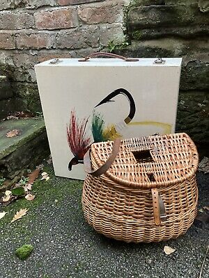Vintage Fishermans Wicker Basket / Creel & Fishing Box Dovetailed & Hand Painted • 50£