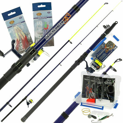 Sea Fishing Telescopic 12ft Beachcaster Rod And Reel Combo Tackle Set And Line • 37.99£
