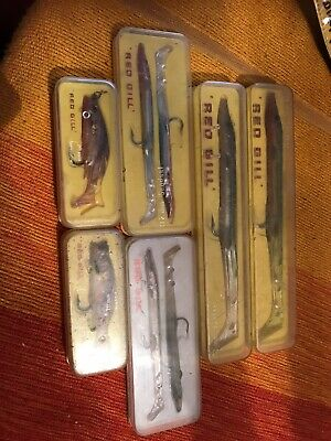 6 Vintage Red Gill Fishing Lures • 35£