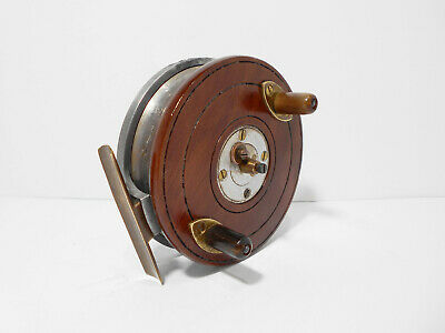 Vintage Antique Zephyr 4  Wooden Brass Alloy Combination Nottingham Fishing Reel • 144£