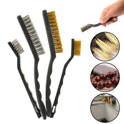 4X Wire Brush Set Small Long Steel Brass Nylon Metal Rust&Paint Remover/Cleaner • 5.89£